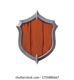 A wooden military shield in a metal frame. Cartoon wooden shield icon, game shield.