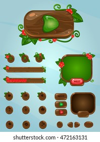 Wooden mobile gui elements.Red flowers with leaves. Buttons for game user interface and web design.Set game elements.