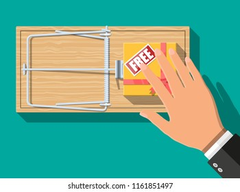 Wooden mouse trap with gift box with free sign, classical spring loaded bar trap. Top view. Fraud, freebie, crime and lie. Vector illustration in flat style