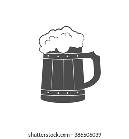 Wooden mug with beer. Beer icon. Vector illustration