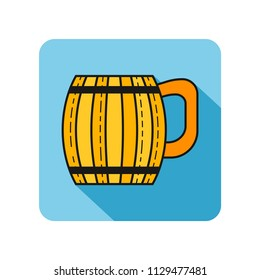 Wooden mug for beer, water and beverages. Flat icon for site, business. Vector illustration