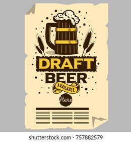 Wooden Mug Of Draft Beer Illustration Poster Flyer Design For Promotion For Restaurants Pubs Clubs. Vector Graphic.