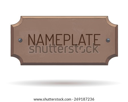 wooden name plate with bolts text template vector watercolor illustration hand drawn