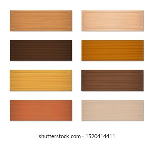 Wooden nameplates, blank nametags, oblong badges. Set with different colors and textures from various trees, different models. Isolated vector illustration on white background.