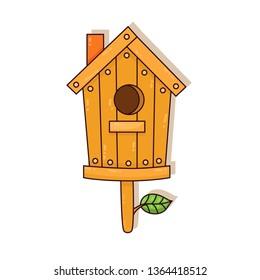 Wooden nesting box colorful cartoon cute vector icon