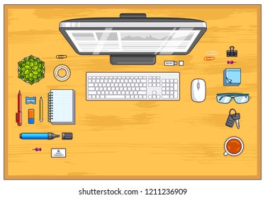 Wooden office employee or entrepreneur work desk workplace with PC computer and diverse stationery objects for work with copy space for text. All elements are easy to use separately. Vector.