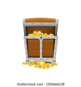 Wooden old pirate chests, full of treasures, gold coins, treasures, vector, cartoon style, illustration, isolated. For games, advertising applications