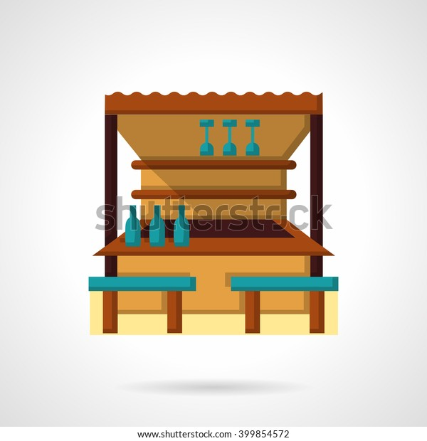 balcony bar and cafe Wooden Outdoor Bar Cafe Blue Seats Signs Symbols Parks