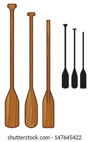 wooden paddle (sport oars)