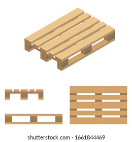 Wooden pallet. Isometric design, flat design, top view, front and side view. Vector illustration.