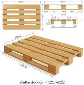 Wooden Pallet In Perspective Front And Side View With Dimensions