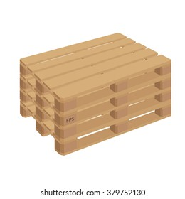 Wooden pallet in perspective vector illustration isolated on a white background