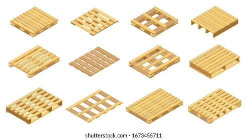 Wooden pallet vector illustration on white background . Isolated isometric set icon wood container.Isometric vector set icon wooden pallet.