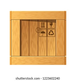 Wooden parcel box. Box cardboard, package, packaging. Closed box. Pile of stacked sealed goods cardboard boxes. Cargo delivery, parcels, freight. Vector illustration isolated.
