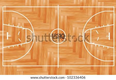 Wooden Parquet Floor Basketball Court Vector Stock Vector Royalty