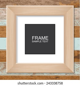 Wooden photo frame on vintage wooden wall. Vector illustration.