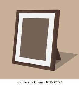 Wooden photo frame. Vector illustration.
