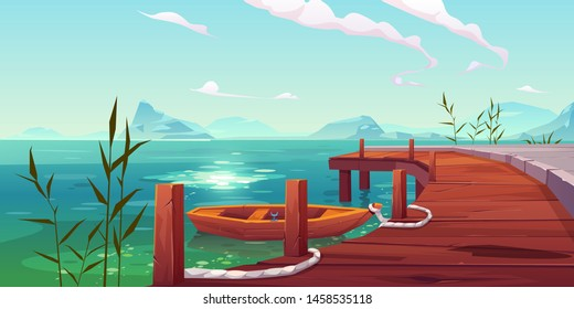 Wooden pier and boat on river natural landscape, wharf with ropes and reed growing in water on picturesque lake background with mountains view. Cartoon vector illustration