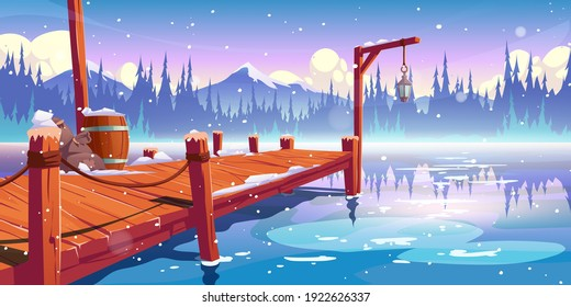 Wooden pier on winter lake, pond or river landscape, wharf with ropes, lantern, barrel and sacks on mountains background with clouds, spruces and snowflakes fall on water. Cartoon vector illustration