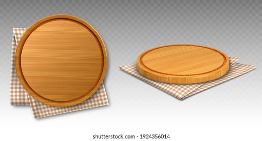 Wooden pizza and cutting boards on kitchen towel. Round trays on folded chequered tablecloth, natural, eco friendly utensils made of wood isolated on transparent background, realistic 3d vector set