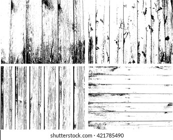 Wooden Planks distress overlay texture pack for your design. Vector Grunge fence from wooden boards Overlay Set. Easy to edit.