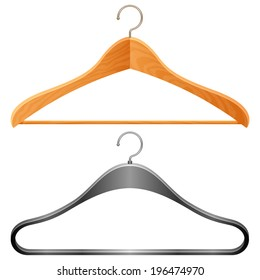 Wooden and plastic clothes hangers.