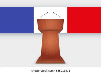 Wooden Podium Speaker Tribune with French flag. Symbol of Election 2017 in France. Vector Illustration Isolated on Background.