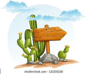 Wooden pointer with cactus in the desert