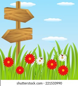 wooden pointer to the green lawn, vector illustration