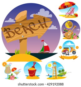 Wooden pointer, lifeguard tower, beach umbrella and chair, scooter, guitar, toy bucket. Set of color illustrations on the theme of summer.
