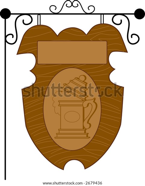 A wooden pub sign with a stein and blank space