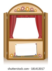 Wooden punch and judy booth with blank staging announcement banner, that can individually be lettered.