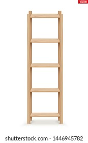 Wooden Rack storage stand. Sample Furniture Home and Warehouse Interior element. Vector Illustration isolated on white background