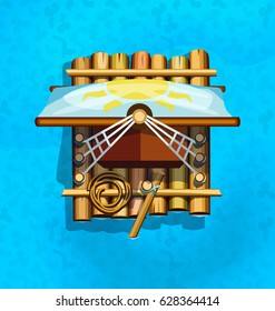 Wooden raft with a sail. Vector design for app game user interface