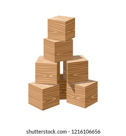 Wooden realistic bricks building tower. Block vector illustration on white background. Blank cubes for your own design.