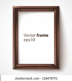 Wooden rectangular 3d photo frame with shadow. Vector illustration