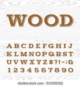 Wooden retro alphabet font. Serif type letters, numbers and symbols on the light background. Vintage vector typography for labels, headlines, posters etc.