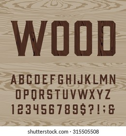 Wooden retro alphabet font. Type letters, numbers and symbols on the light background. Vintage vector typography for labels, headlines, posters etc.