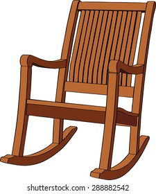 Wooden rocking armchair on white background. Vector illustration