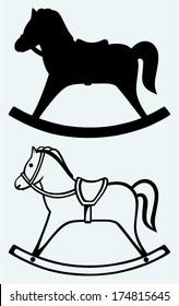 Wooden rocking horse. Image isolated on blue background
