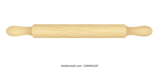Wooden rolling pin isolated on white. Vector illustration