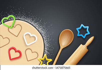 Wooden rolling pin, kneading dough with flour and cookie cutter. Concept design for baking, cookie, biscuit. Dark background. Eps10 vector illustration.