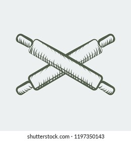 Wooden rolling pin with line art sketch style. Vector illustration.