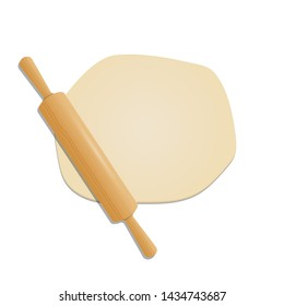 Wooden rolling pin on the dough vector design illustration isolated on white background