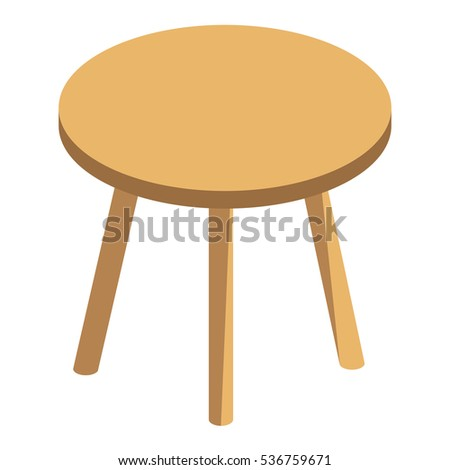 f196b0f7d7e6 Wooden round table isolated on white background. Flat vector isometric  illustration