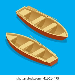 Wooden Rowing boat isolated. Transport for the movement of a river or lake. Flat 3d isometric illustration. For infographics and design