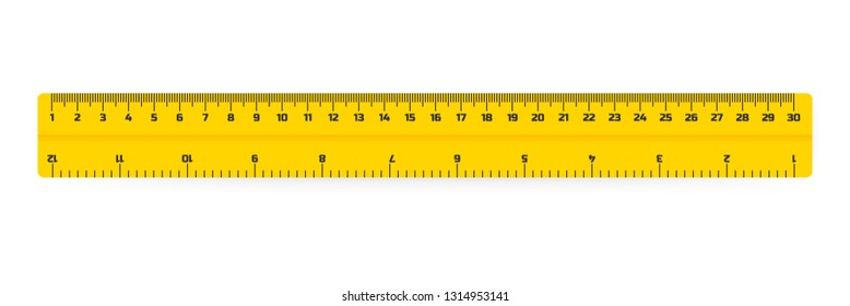 wooden rulers 30 centimeters with shadows isolated on white. Measuring tool. School supplies. Vector stock illustration.