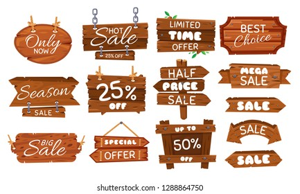 Wooden sale sticker. Season sales sign, wood board offer tag and vintage best price label. Shopping specials wooden signboard banner. Cartoon vector illustration isolated symbols set