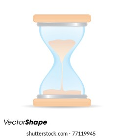 Wooden sand clock icon vector illustration
