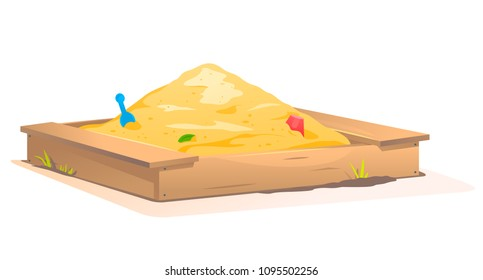 Wooden Sandbox with Sand